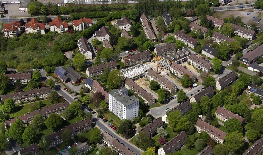 Gemeindehaus Johannes Suedstadt, Hattingen, Ruhrgebiet, Nordrhein-Westfalen, Deutschland, Europa, Foto: Luftbild Hans Blossey, Copyright: hans@blossey.eu, 01.05.2010